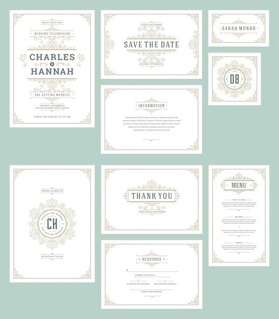 Conjunto de convites de casamento cartões floresce ornamentos. Vetor Premium