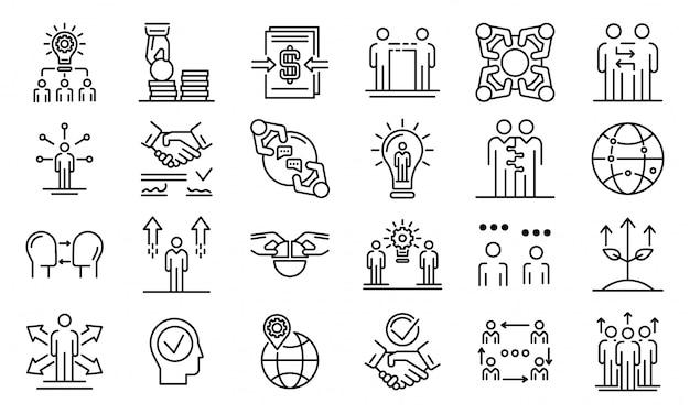 Conjunto de cooperação de negócios, estilo de estrutura de tópicos Vetor Premium