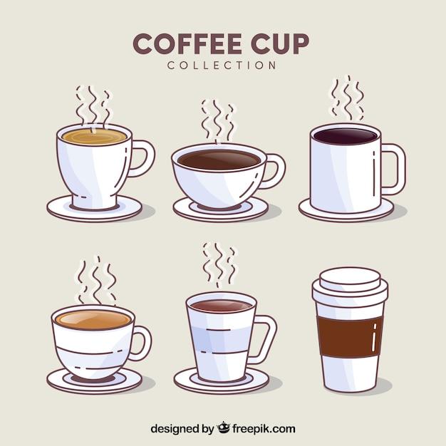 Conjunto de copo de café de seis com vapor Vetor grátis