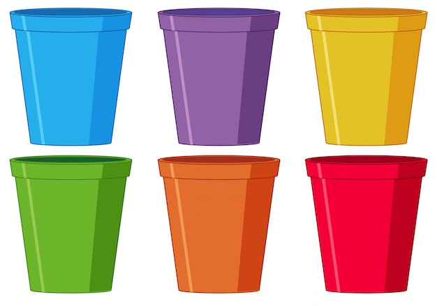 Conjunto de copo de plástico Vetor grátis