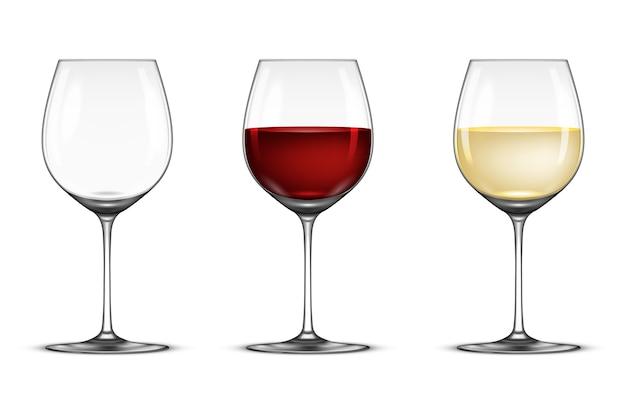 Conjunto de copo de vinho realista - vazio, com vinho branco e tinto, isolado no fundo branco. Vetor Premium