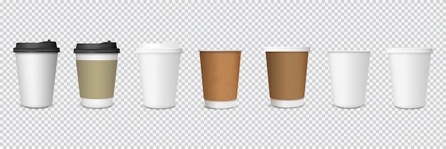 Conjunto de copos de café de papel em fundo transparente Vetor Premium