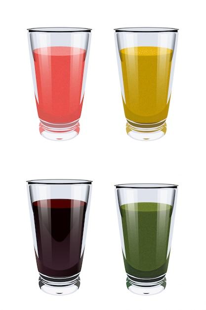 Conjunto de copos de vidro com smoothies em branco Vetor Premium