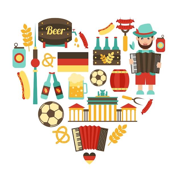 Conjunto de coração de viagem alemanha Vetor Premium