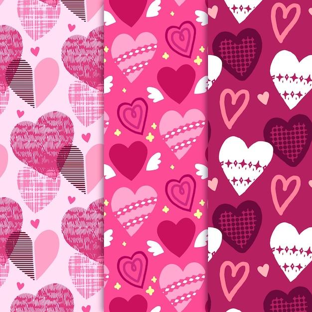 Conjunto de coração desenhado padrão Vetor Premium