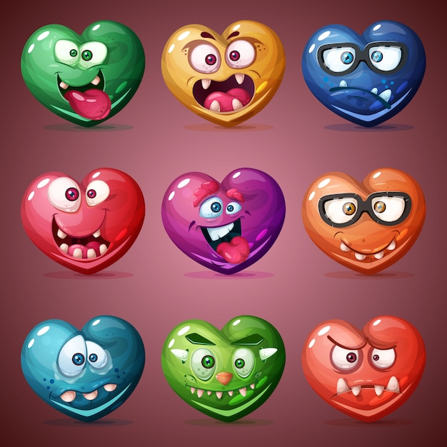 Conjunto de coração dos namorados Vetor Premium