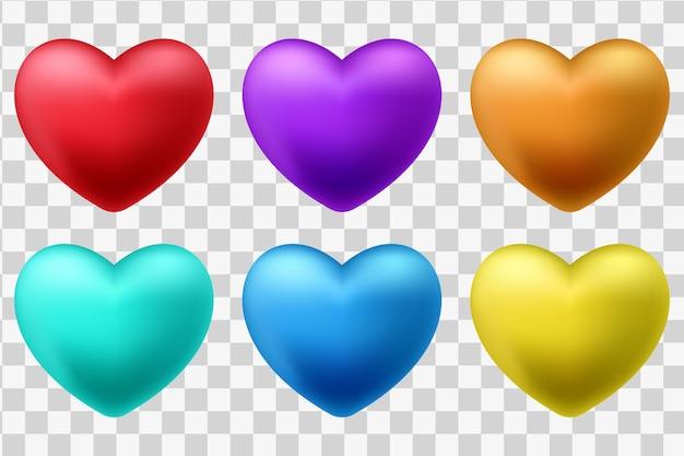 Conjunto de corações 3d vermelhos isolados em um fundo branco Vetor grátis