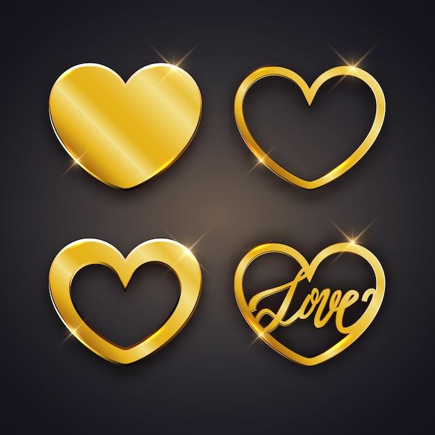 Conjunto de corações brilhantes ouro Vetor Premium
