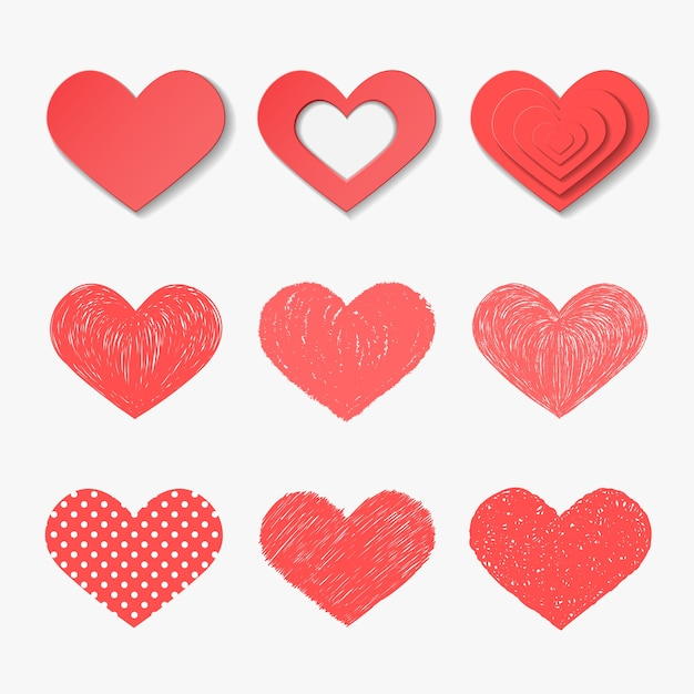 Conjunto de corações de vetor. Vetor Premium