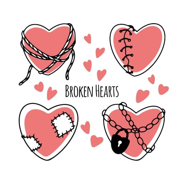 Conjunto de corações partidos dos desenhos animados Vetor Premium