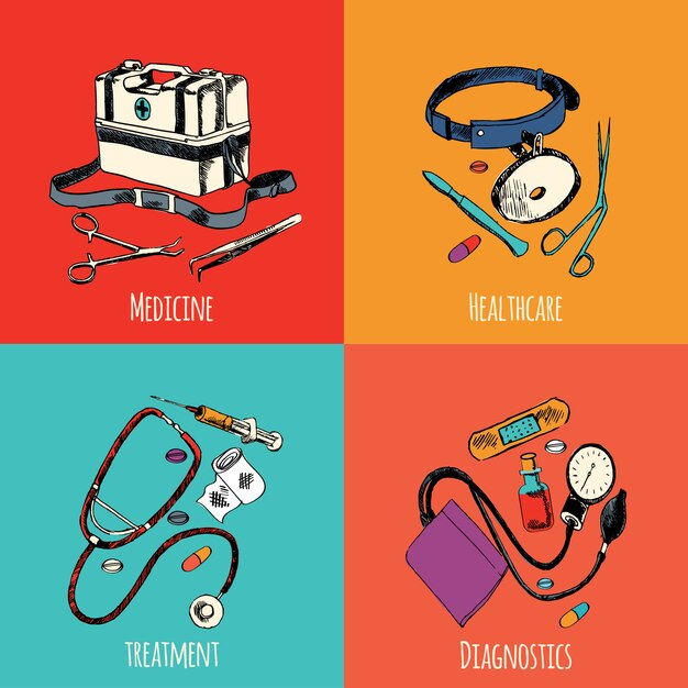 Conjunto de cores de elementos de desenho de medicina Vetor Premium