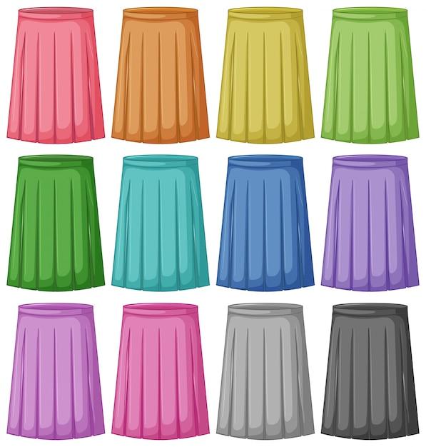 Conjunto de cores diferentes de saia Vetor grátis