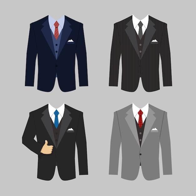 Conjunto de cores diferentes de vetor de ternos de roupas de negócios Vetor grátis