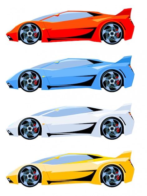 Conjunto de cores diferentes de vista lateral de carros desportivos Vetor Premium