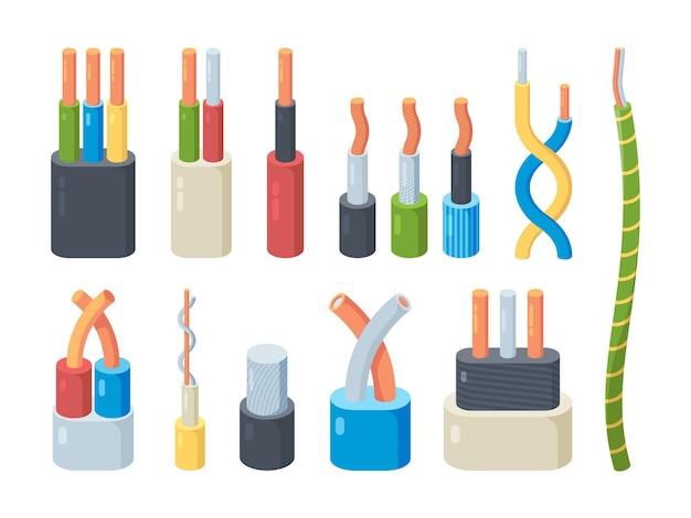 Conjunto de cores do cabo elétrico. tecnologia de tensão de conexão de energia de cobre e alumínio para condutores lineares de equipamentos industriais domésticos de fibra trançada profissional de amperagem. Vetor Premium