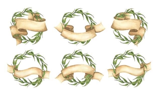 Conjunto de coroa de folhas verdes com fita Vetor Premium
