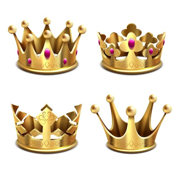 Conjunto de coroa de ouro 3d. monarquia real e atributos dos reis. coroa de ouro Vetor Premium