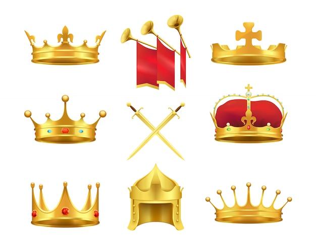 Conjunto de coroas e espadas antigos dourados. vetorial, ilustração, de, bonés, feito ouro Vetor Premium