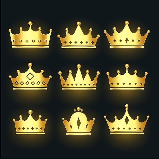 Conjunto de coroas premium na cor dourada Vetor grátis