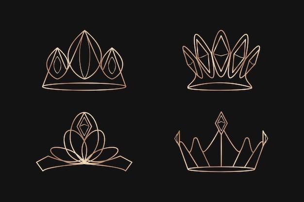 Conjunto de coroas reais Vetor grátis