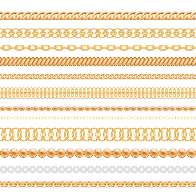 Conjunto de correntes de ouro e cordas isoladas no branco Vetor Premium