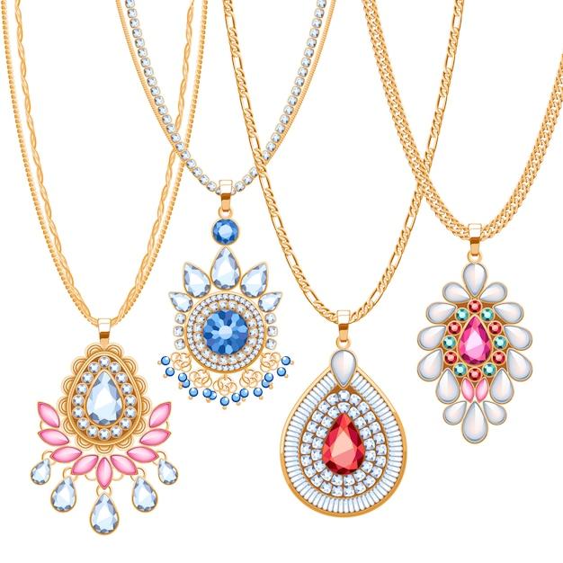 Conjunto de correntes douradas com diferentes pingentes. colares preciosos. broches de estilo étnico indiano com pérolas de pedras preciosas. inclui escovas de corrente. Vetor Premium