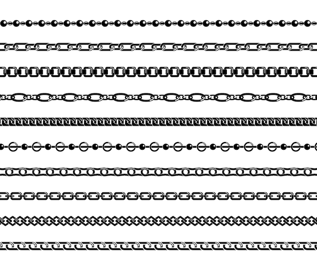 Conjunto de correntes pretas isoladas no fundo branco. Vetor Premium