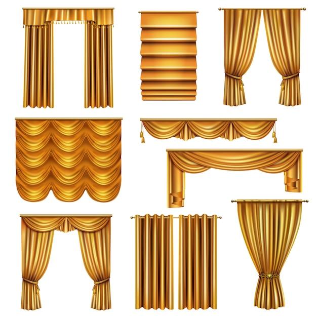 Conjunto de cortinas de luxo realista ouro de várias cortinas com elementos decorativos isolados Vetor grátis