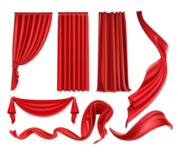 Conjunto de cortinas e cortinas de veludo de seda escarlate, tecido vermelho esvoaçante isolado no fundo branco Vetor Premium