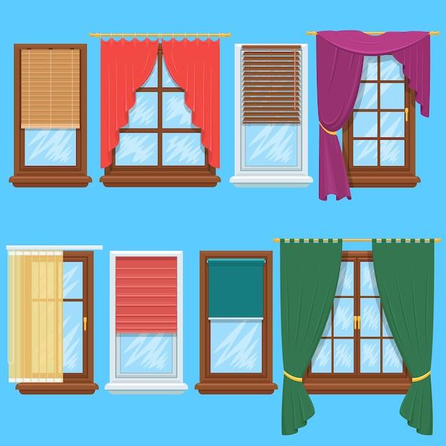 Conjunto de cortinas e persianas. jalousie para casa ou interior de casa criativa, ilustração vetorial Vetor Premium