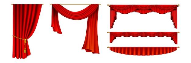 Conjunto de cortinas realistas. coleção de realismo estilo desenhado cortinas deslizantes de teatro vermelho isolado. ilustração de diferentes formas e tamanhos de cortinas de ópera no padrão de modelo gráfico de estreia de filme. Vetor Premium