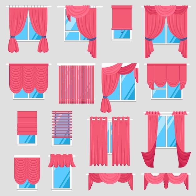Conjunto de cortinas vermelhas Vetor grátis