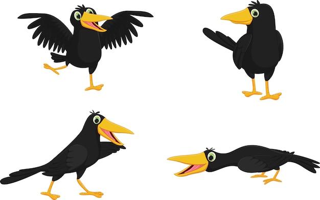 Conjunto de corvo bonito dos desenhos animados Vetor Premium