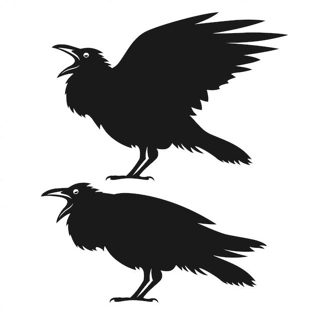 Conjunto de corvos pretos Vetor Premium