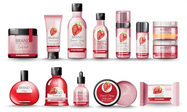 Conjunto de cosméticos com morango. leite corporal, creme para as mãos, gel de banho, perfume, sabonete, máscara e spray Vetor grátis