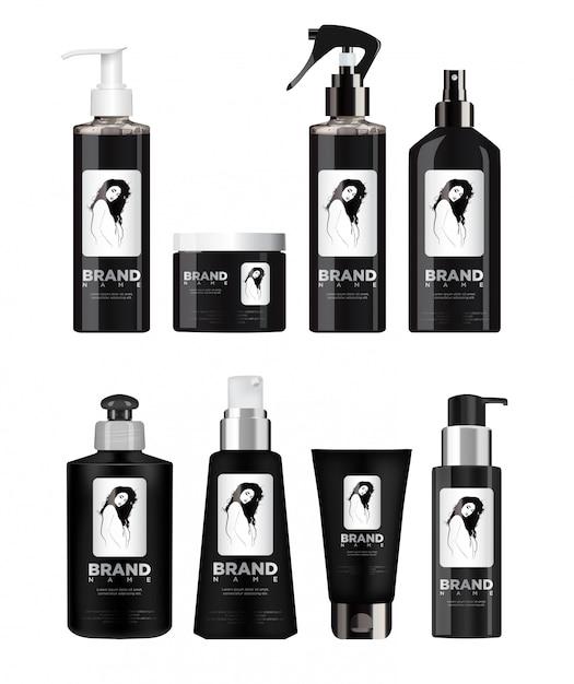 Conjunto de cosméticos preto realista Vetor Premium