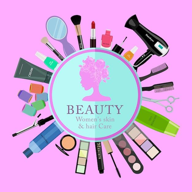 Conjunto de cosméticos profissionais, várias ferramentas de beleza e produtos: Vetor Premium