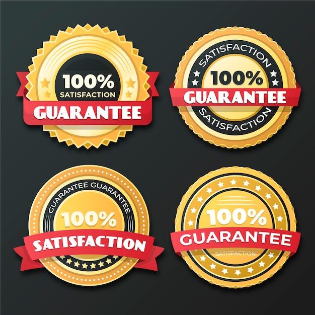 Conjunto de crachá de garantia 100% Vetor grátis