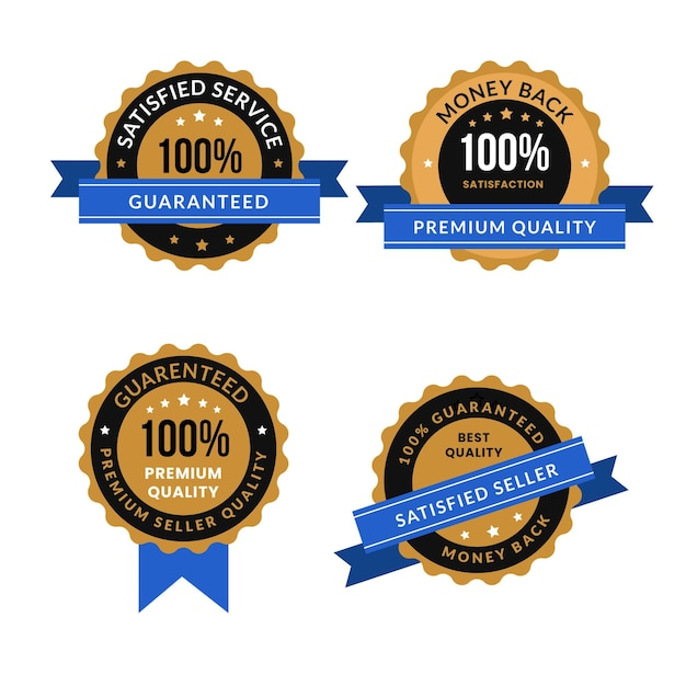 Conjunto de crachá de garantia de cem por cento Vetor Premium