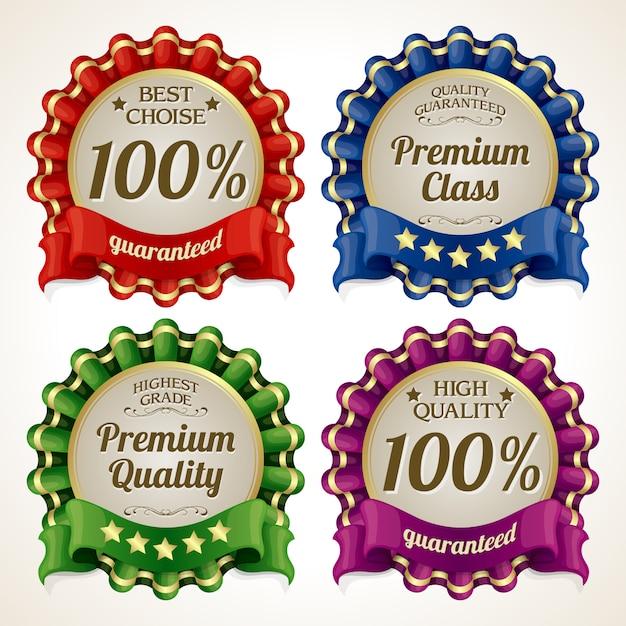 Conjunto de crachá de qualidade Vetor Premium