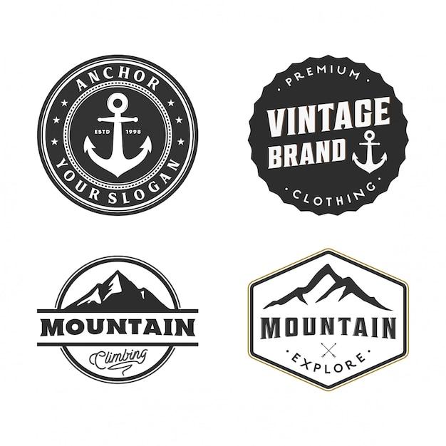 Conjunto de crachá e logotipo vintage Vetor Premium