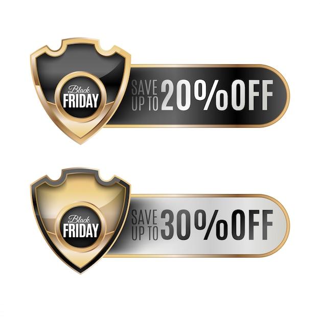Conjunto de crachá preto de sexta-feira Vetor Premium