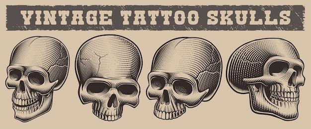 Conjunto de crânios de ilustrações vintage no fundo claro Vetor Premium
