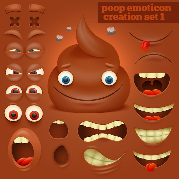 Conjunto de criação de personagem de emoticon poo dos desenhos animados. Vetor Premium
