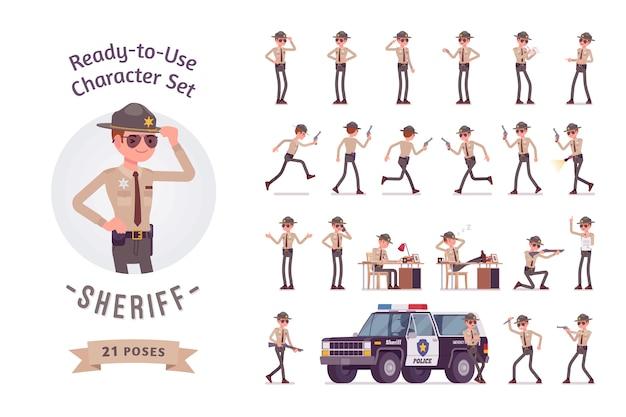 Conjunto de criação de personagem de xerife Vetor Premium