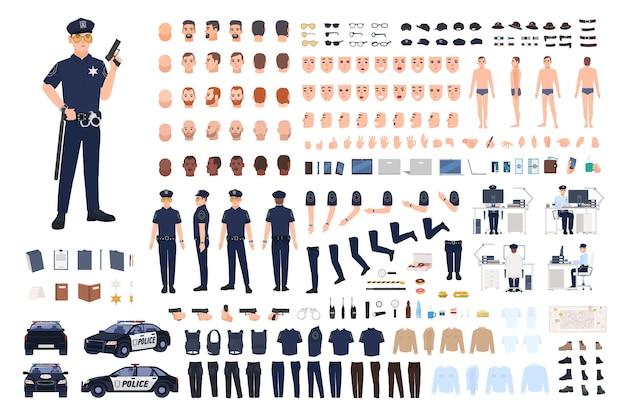 Conjunto de criação de policial Vetor Premium