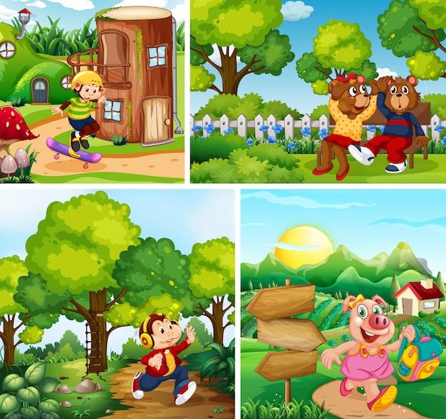 Conjunto de crianças animais no parque backgroud Vetor grátis