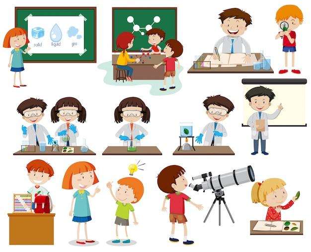 Conjunto de crianças aprendendo Vetor Premium