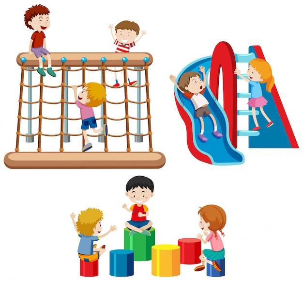 Conjunto de crianças brincando com equipamentos de playground Vetor grátis