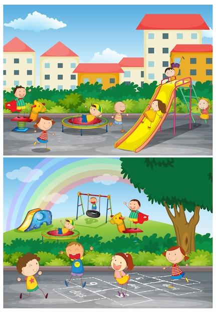 Conjunto de crianças brincando em cenas de playground Vetor grátis